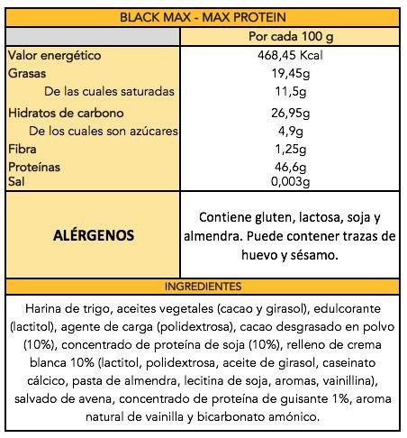 Black Max Oreo - Max protein información nutricional