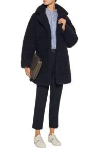 Cocoon Coat Fuzzy Sandro Outnet Midnight 2