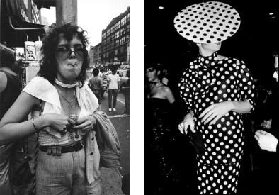 Len Speier Left Woman with Star of David, near 14th Street, 1978 Right Polka Dot Man, NYC, 1980.