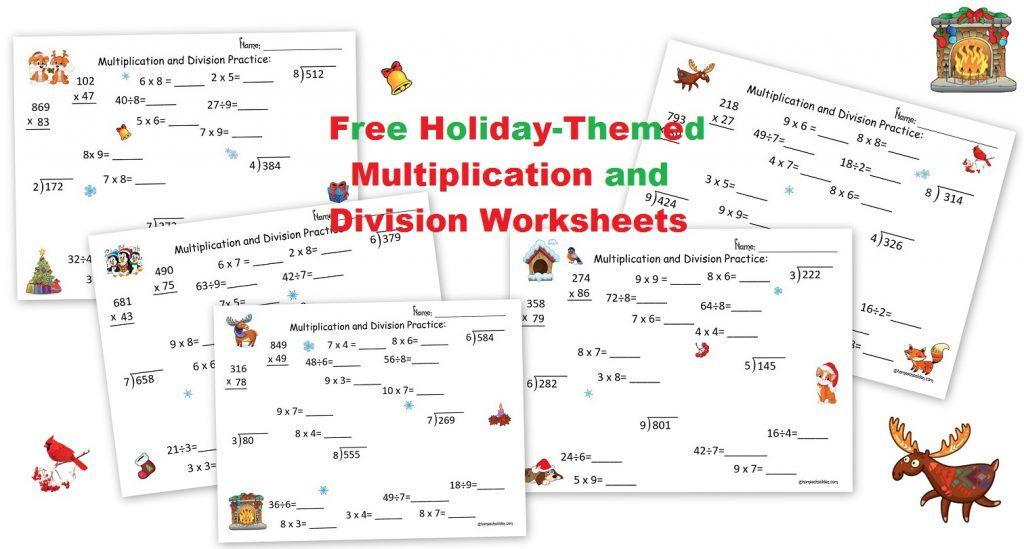Free Holiday Multiplication Worksheets