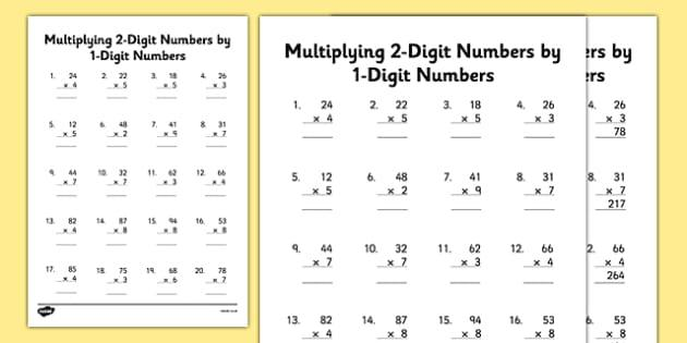 Multiplication Double Digits Worksheets Grade 3