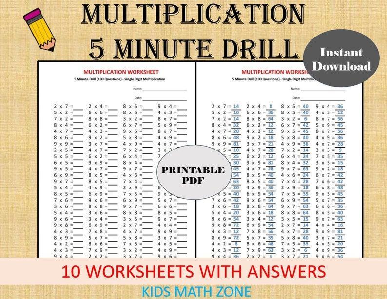 Multiplication Drill Worksheets 3's