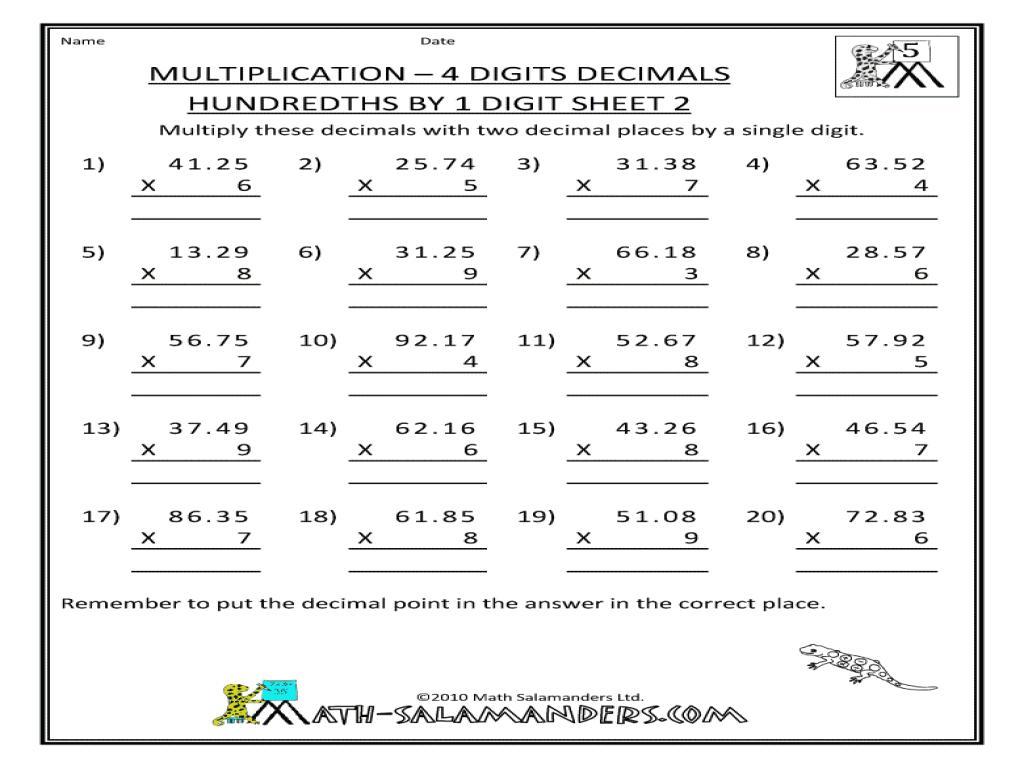 Multiplication Hundredths Worksheet 1