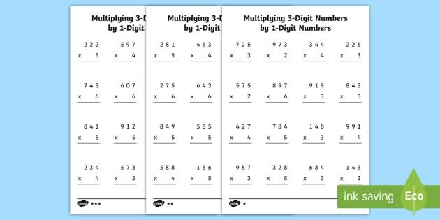 Multiplication Worksheets 3rd Grade Pdf
