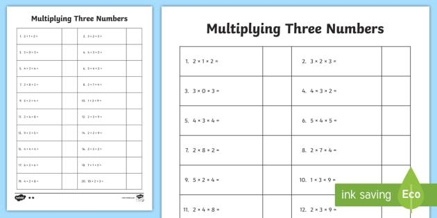 Multiplication Worksheets Entry Level 3 3