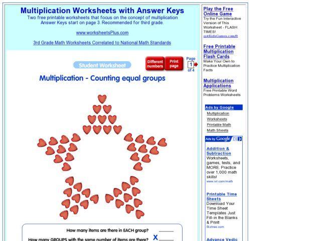 Multiplication Worksheets Equal Groups