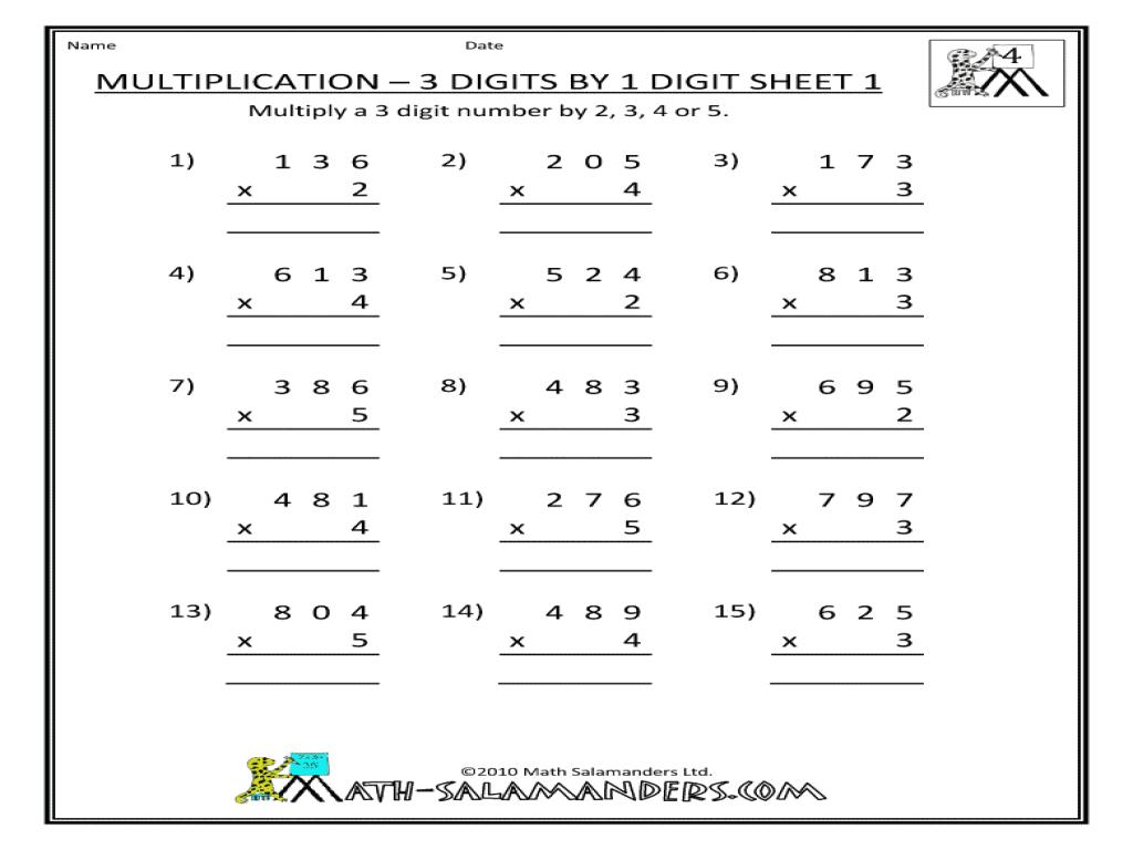 Multiplication Worksheets Grade 3 Arrays