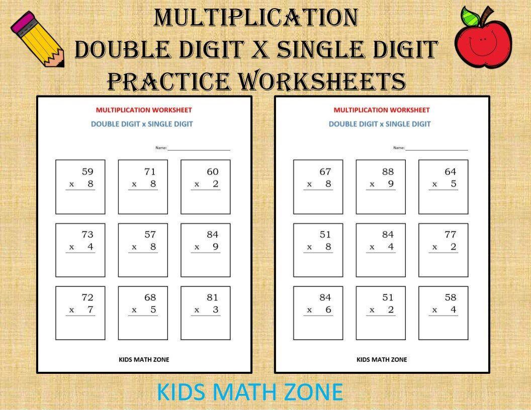Multiplication Worksheets Two Digit By One