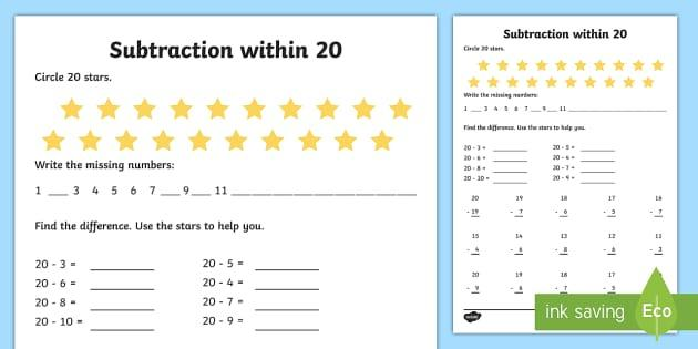 Subtraction Worksheets 1