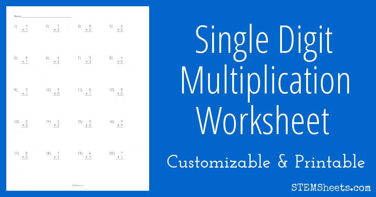 Math Worksheets Multiplication 1 Digit