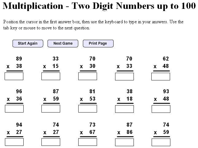 Multiplication Worksheets 3 By 2 Digits