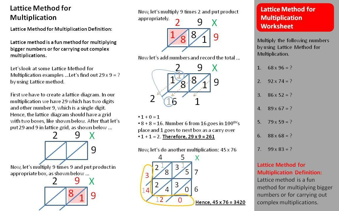 Multiplication Worksheets Lattice Method 1