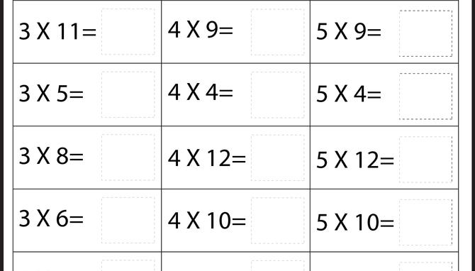 Multiplication Worksheets Mixed Times Tables 1