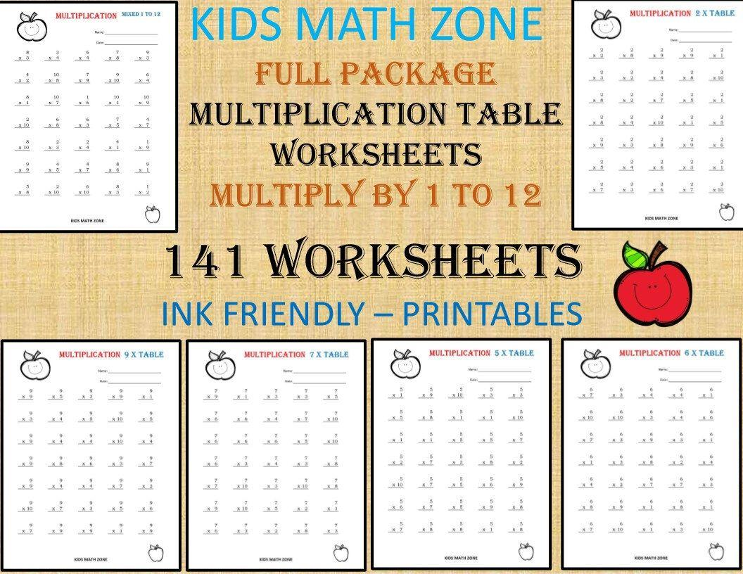 Multiplication Worksheets Printable 1-12