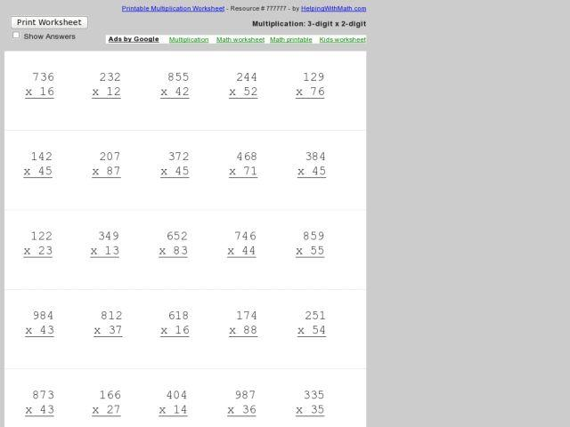 Long Multiplication Worksheets 3 Digit By 2 Digit