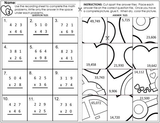 Math Valentine Worksheets