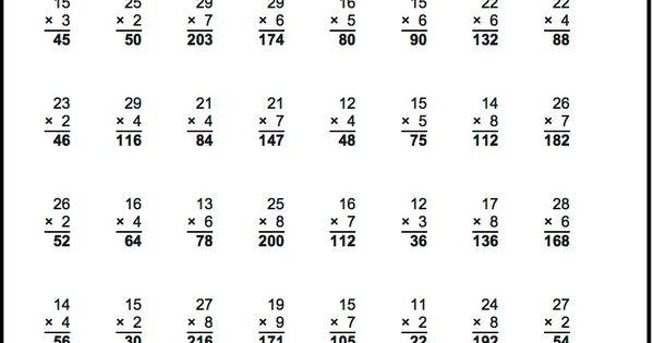 Multiplication Vertical Worksheets Answer Key 2
