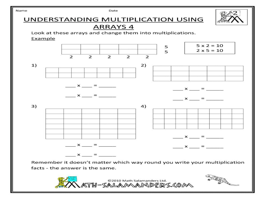 Multiplication Worksheets Using Arrays 1