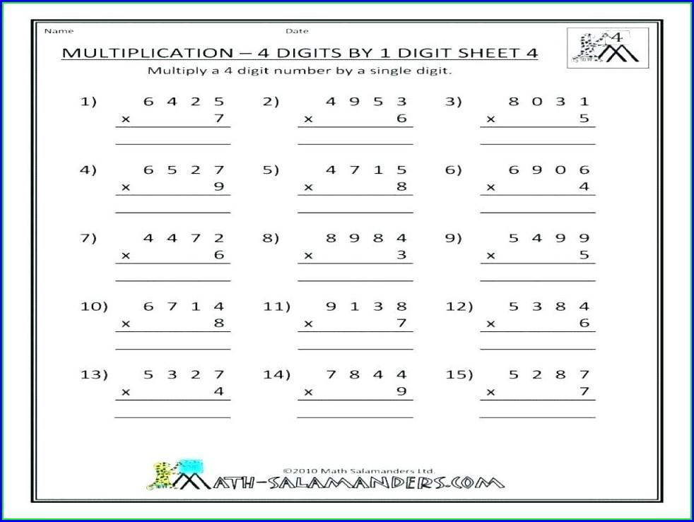 Multiplication Worksheets Without Regrouping 1