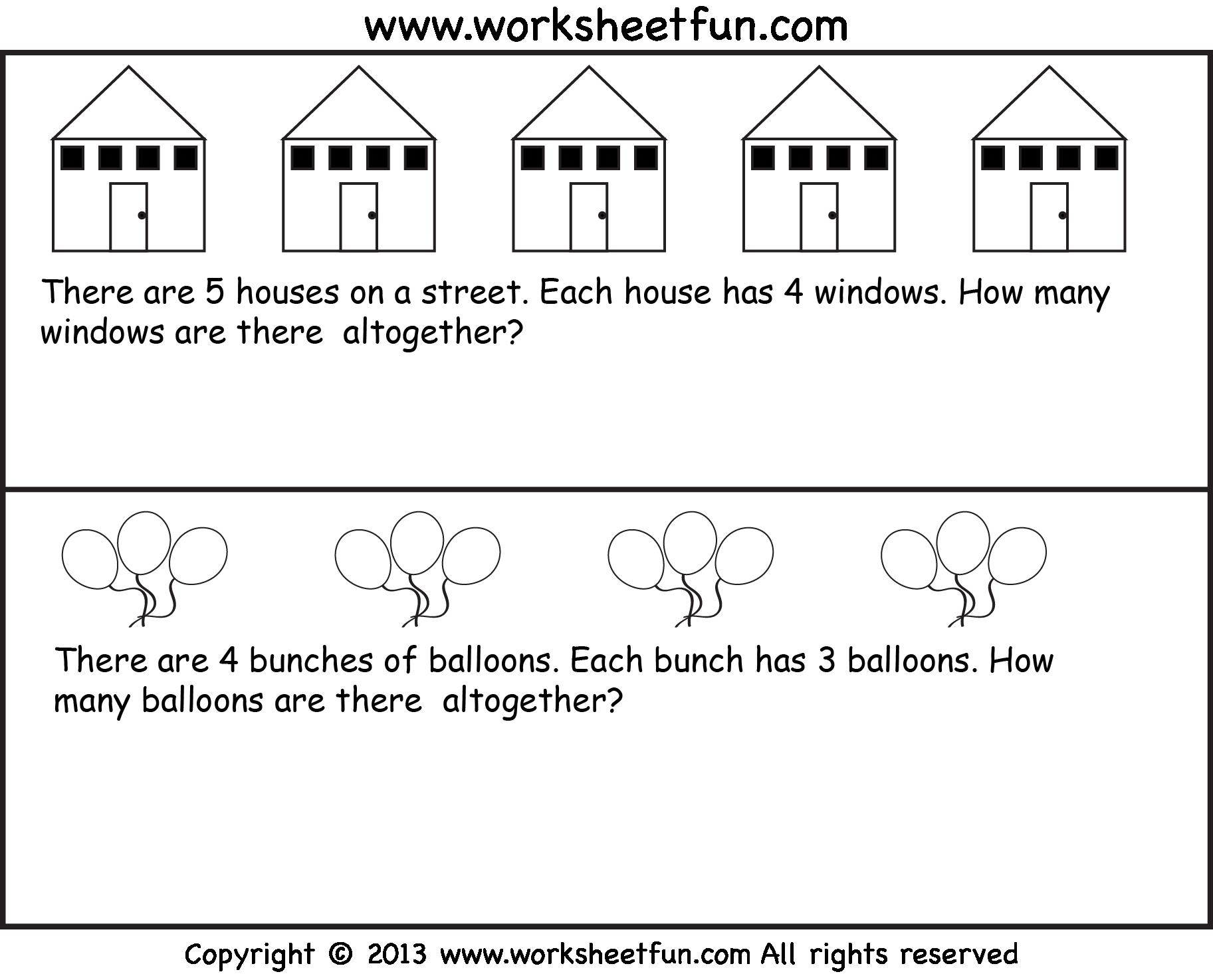Multiplication Worksheets Word Problems 1