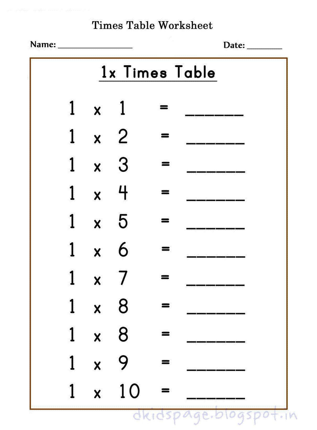 Multiplication Worksheets X1 1