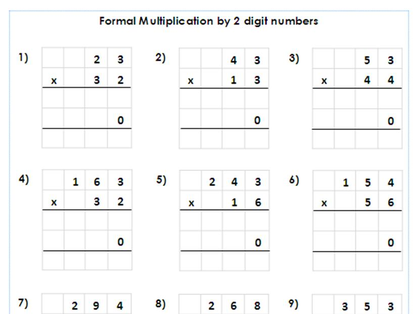 Multiplication Worksheets Year 4 Pdf