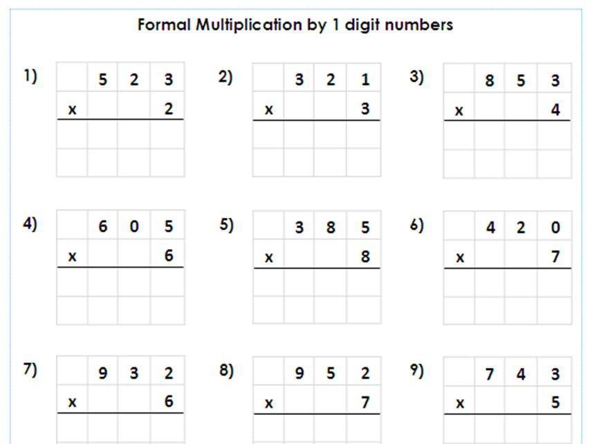 Multiplication Worksheets Year 6 Printable