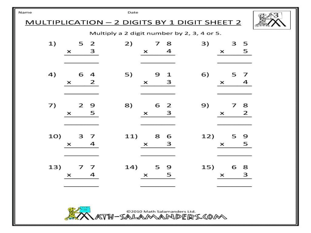 Multiplying Two Digit By One Digit Worksheet Pdf