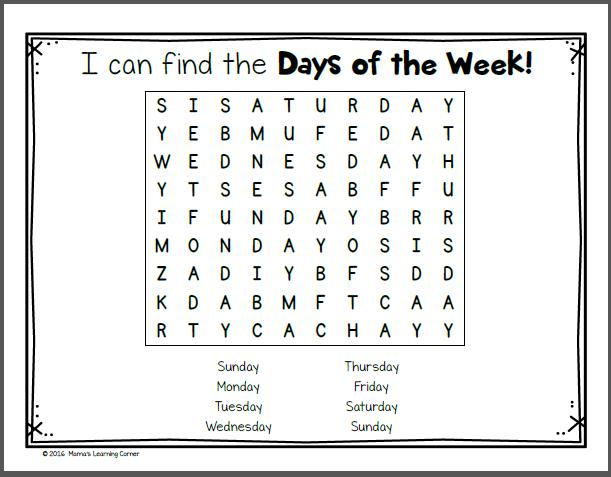 Free Days Of The Week Worksheets For Preschool
