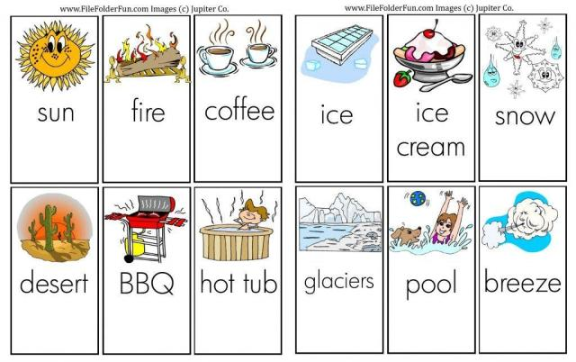 Preschool Worksheets Hot And Cold