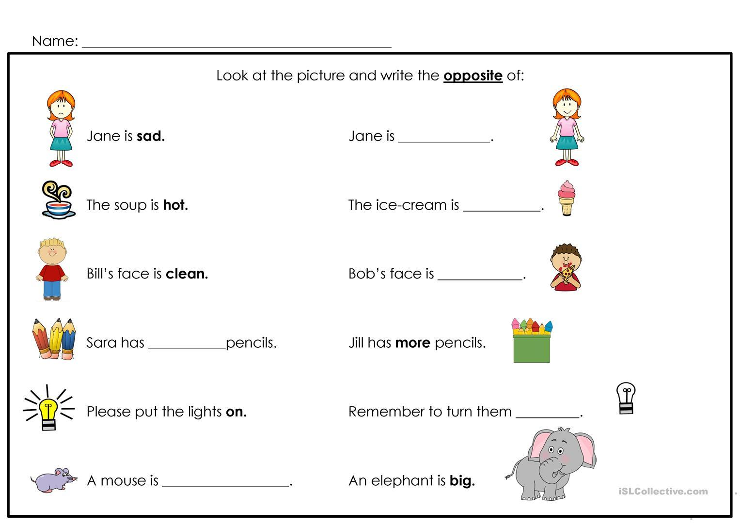 Preschool Opposites Worksheets Free