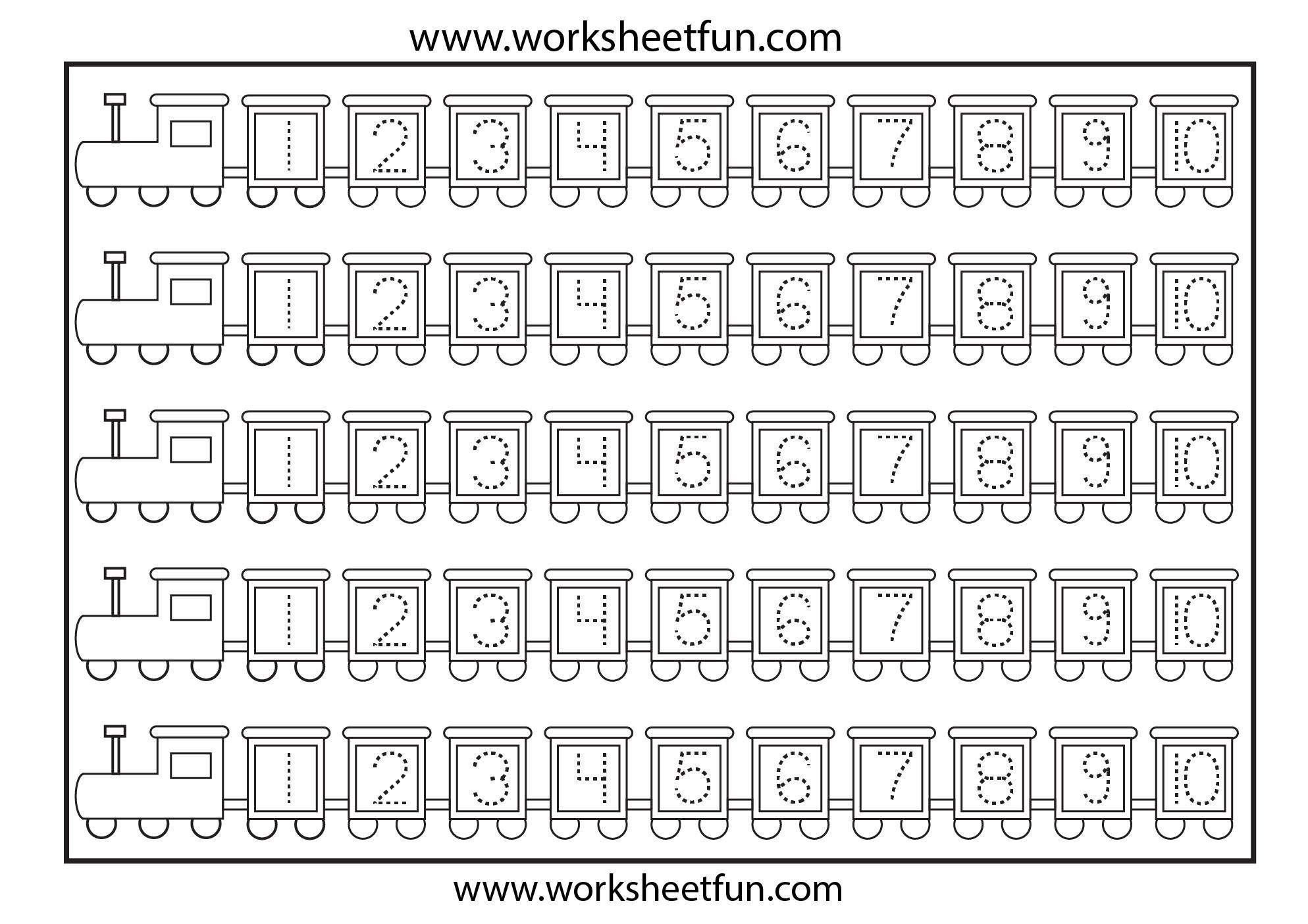 Preschool Tracing Numbers 1-10 Worksheets