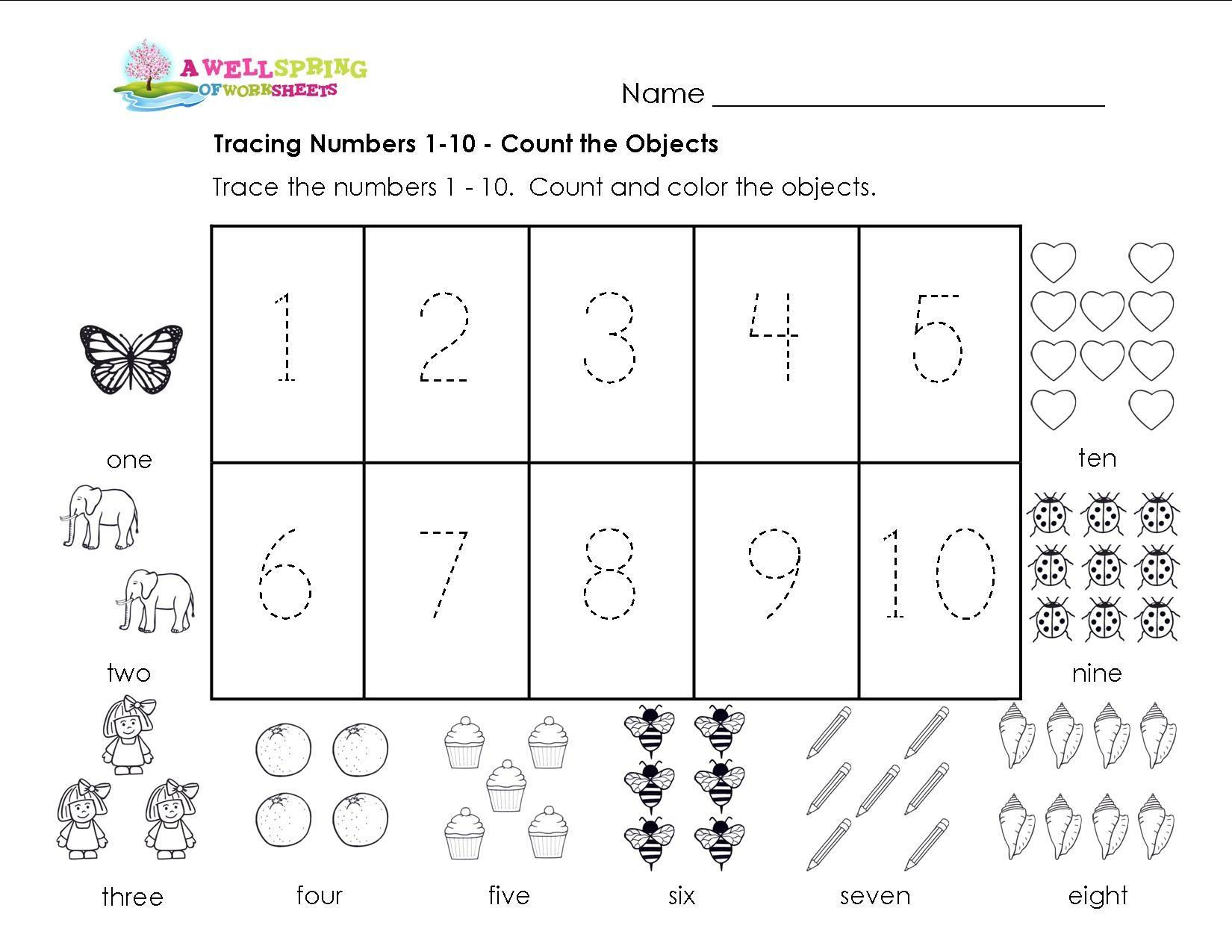 Preschool Worksheets Number Tracing 1