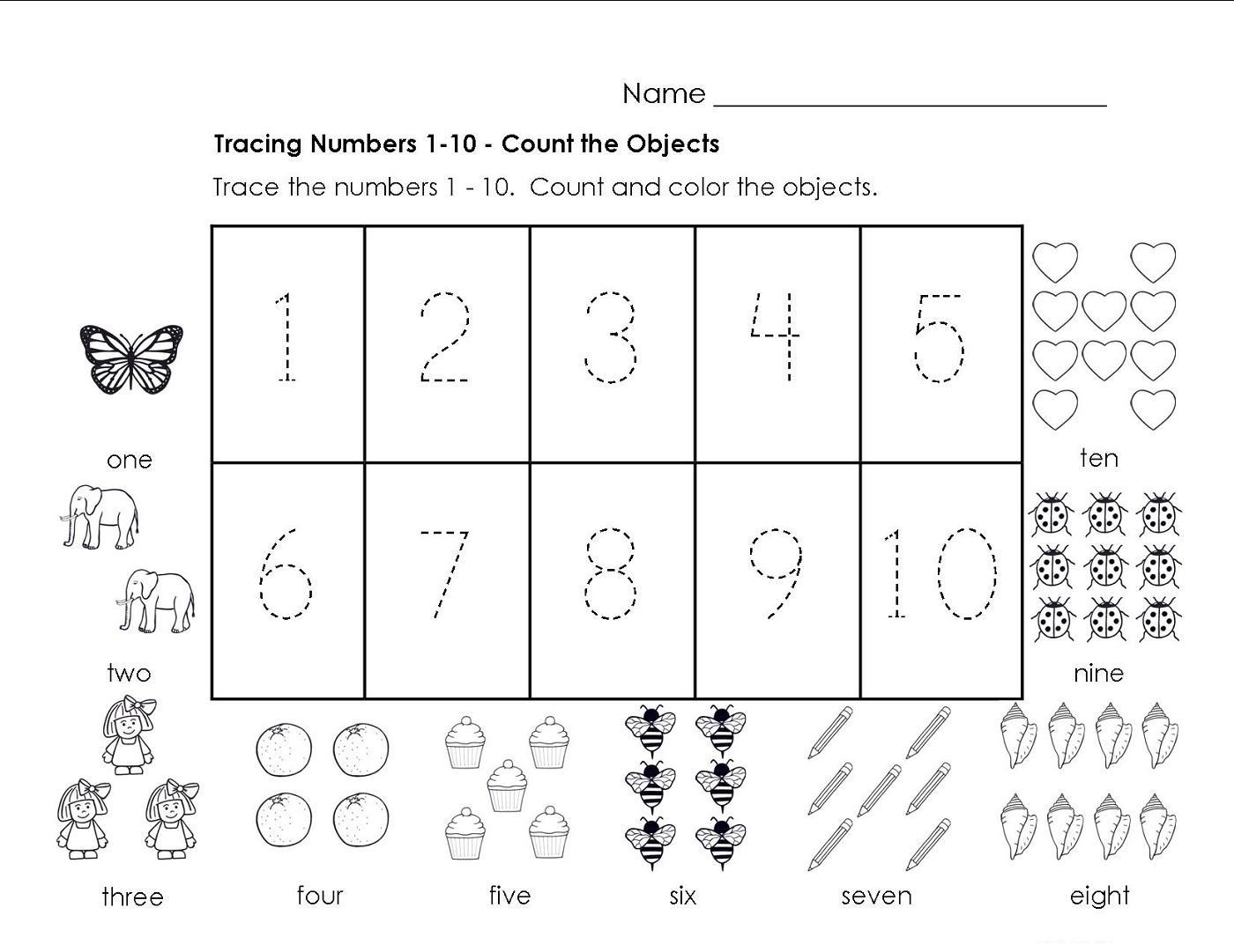 Preschool Worksheets Numbers 1-10 1