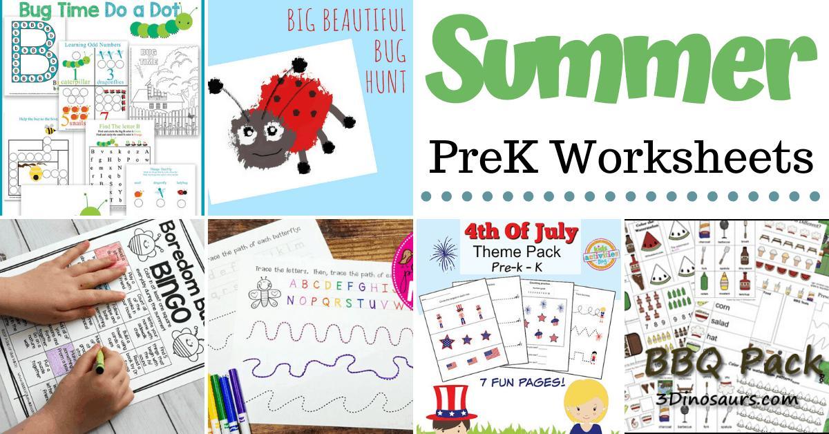 Preschool Worksheets Summer Theme