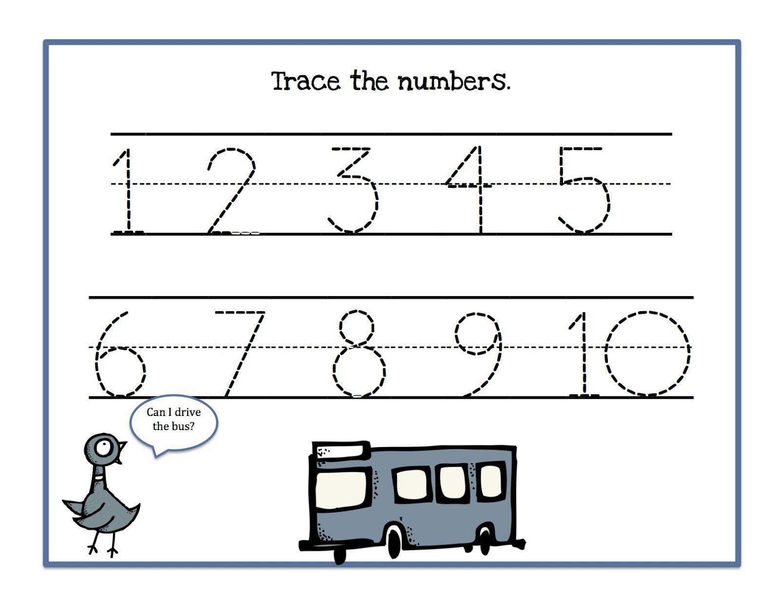 Tracing Numbers 1-10 Worksheets For Preschoolers