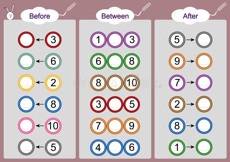 Math Worksheets Before After Between Numbers 2