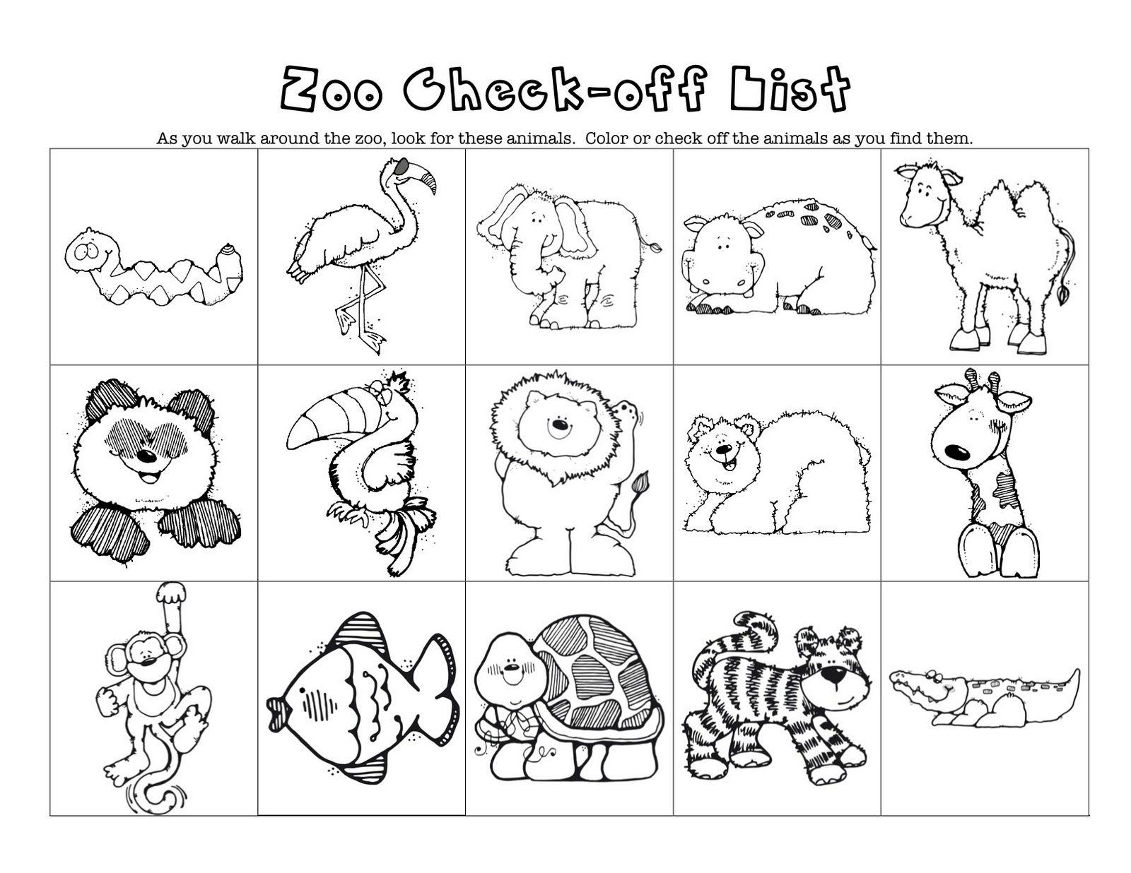 Preschool Worksheets Zoo Animals 1