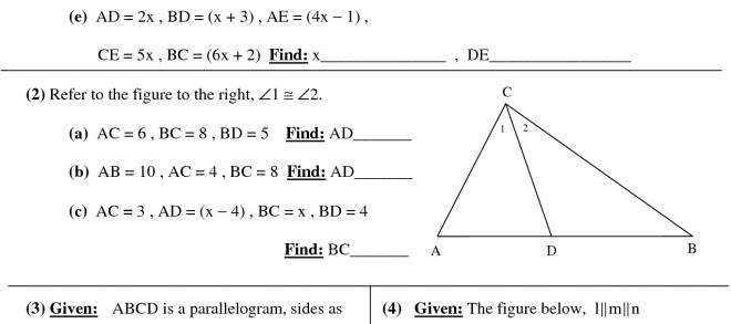 Geometry Math Worksheets For High School