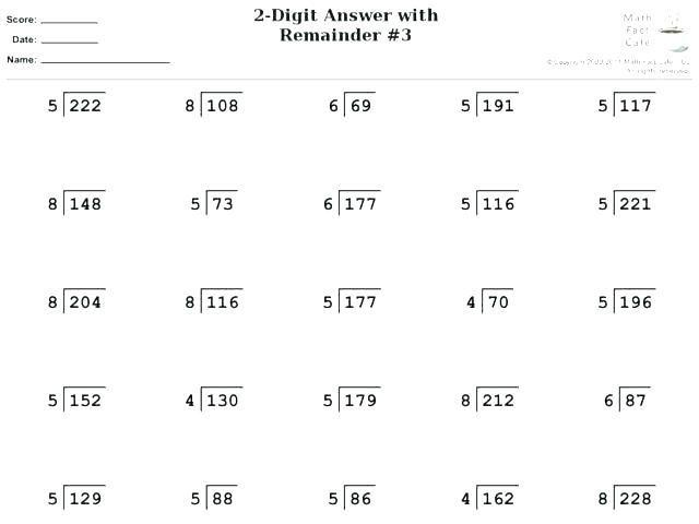Math Worksheets Division With Remainders 4