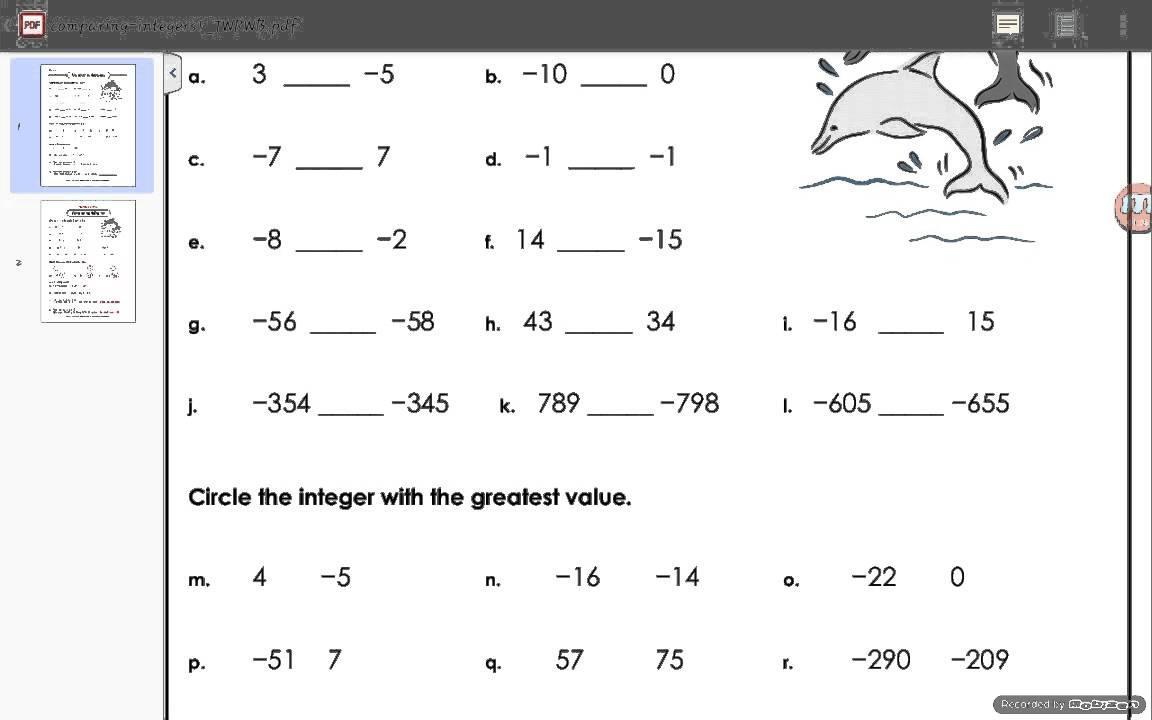 Math Worksheets Integers For Grade 7