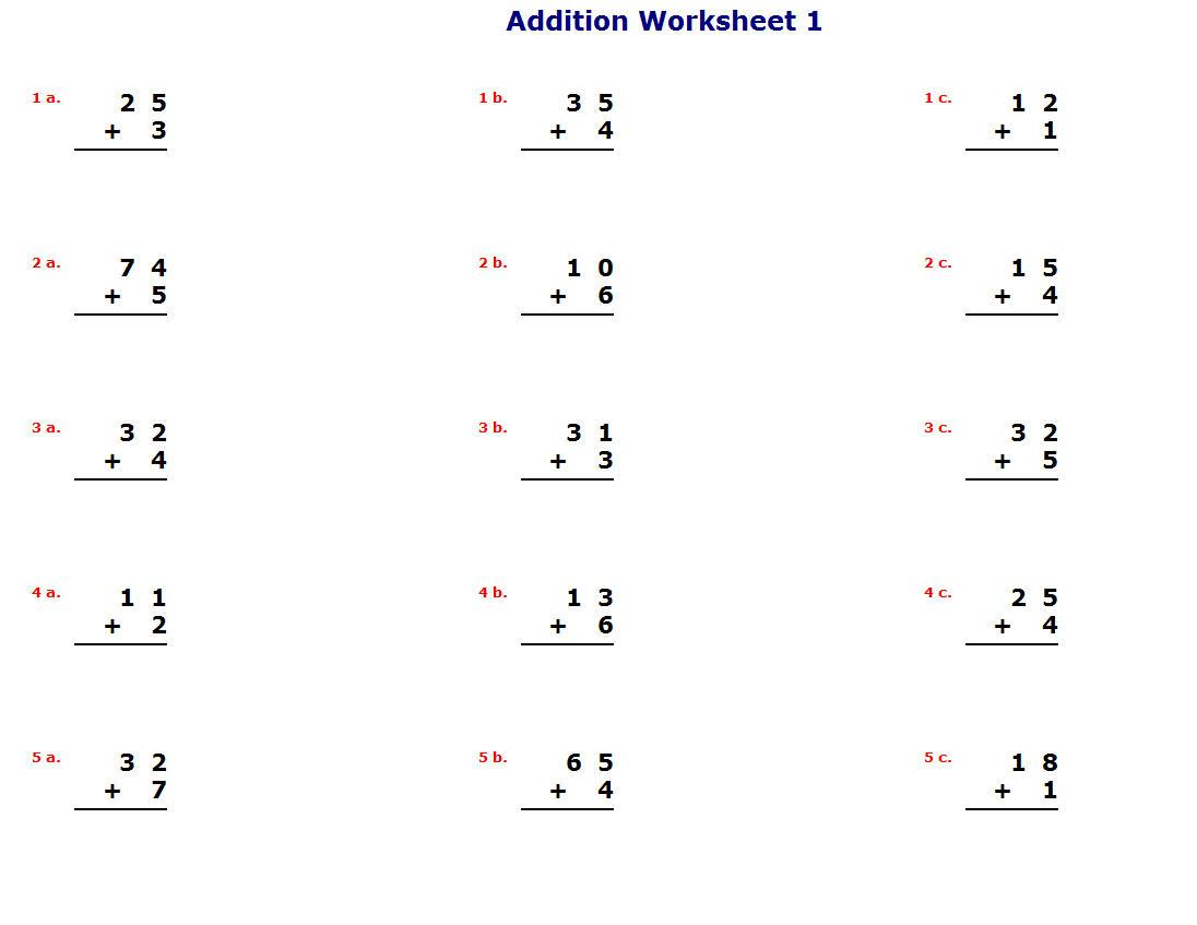 Math Worksheets K5 1