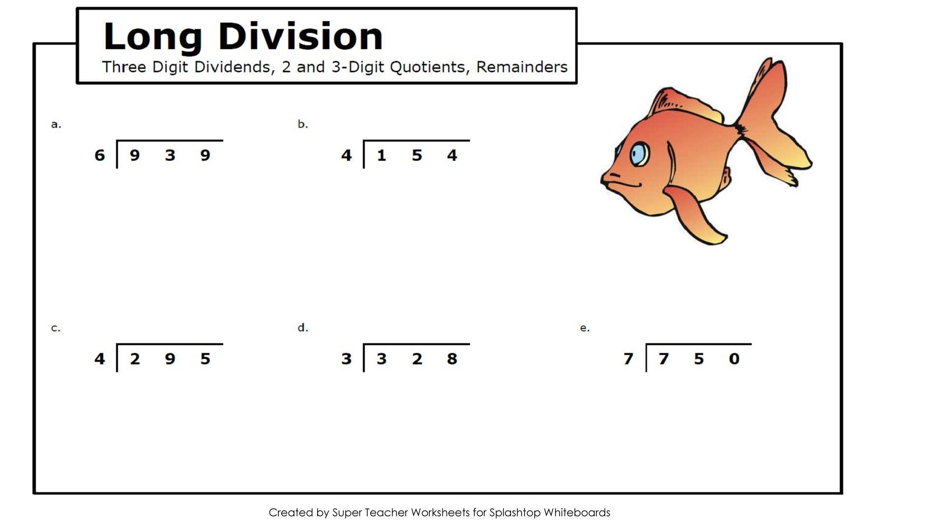 Math Worksheets Long Division No Remainders