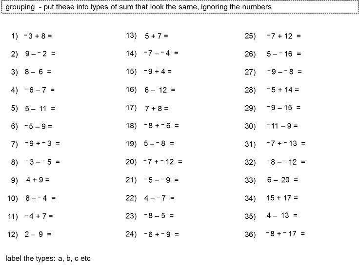 Math Worksheets Subtracting Integers