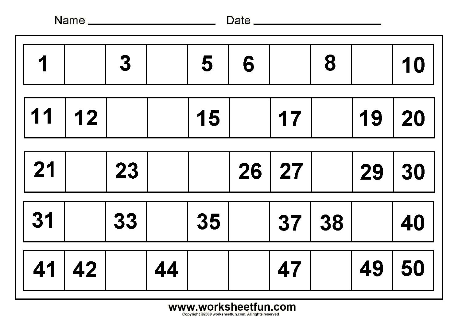 Math Worksheets Missing Numbers Subtraction