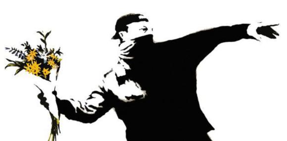 Political street art graffiti by Banksi
