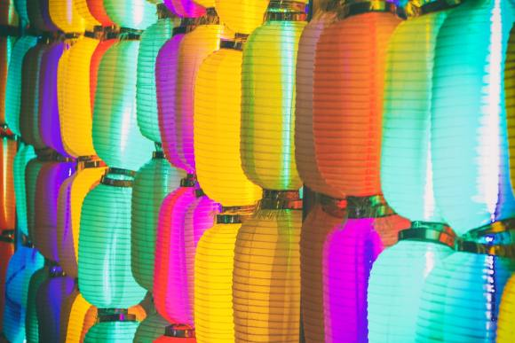 Colourful Chinese paper lanterns