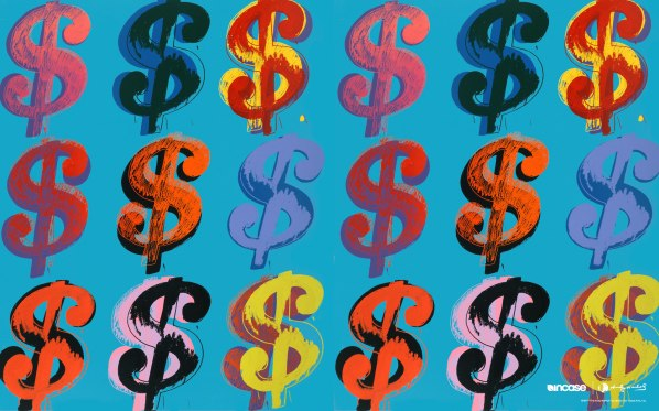 Dollar sign colourful print by Andy Warhol