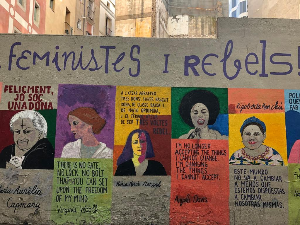 Wall art showing feminists and rebels