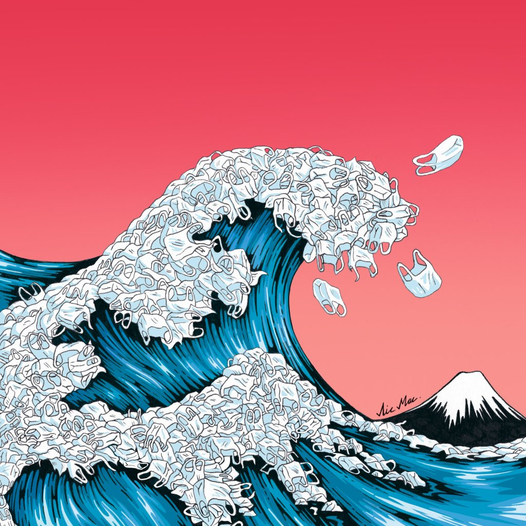 Great Plastic Wave - illustration by artist Nic Mac showing a tsunami of plastic bags near Mount Fuji